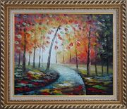 Tranquillity Trail in Autumn Forest Oil Painting Landscape Tree Modern Exquisite Gold Wood Frame 26 x 30 inches