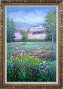 Flowering Meadow around Village Oil Painting Landscape Field Naturalism Ornate Antique Dark Gold Wood Frame 42 x 30 inches
