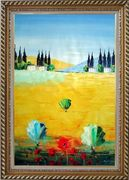 Sunny Tuscany Oil Painting Landscape Naturalism Exquisite Gold Wood Frame 42 x 30 inches