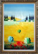 Sunny Tuscany Oil Painting Landscape Naturalism Ornate Antique Dark Gold Wood Frame 42 x 30 inches
