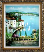 Mediterranean Memory Oil Painting Naturalism Ornate Antique Dark Gold Wood Frame 30 x 26 inches