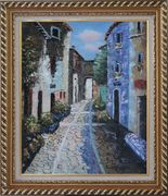 Narrow Cobbled Street Oil Painting Mediterranean Naturalism Exquisite Gold Wood Frame 30 x 26 inches
