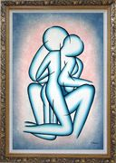 Modern Romantic Painting of Kiss Oil Portraits Couple Ornate Antique Dark Gold Wood Frame 42 x 30 inches
