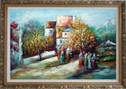 Ladies at Rural Village Street in Sunny Day Oil Painting Impressionism Ornate Antique Dark Gold Wood Frame 30 x 42 inches