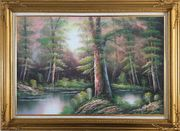 Lake Scenery in Autumn Forest Oil Painting Landscape River Naturalism Gold Wood Frame with Deco Corners 31 x 43 inches