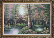 Lake Scenery in Autumn Forest Oil Painting Landscape River Naturalism Ornate Antique Dark Gold Wood Frame 30 x 42 inches