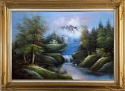 Rural Landscape in Early Spring Oil Painting River Naturalism Gold Wood Frame with Deco Corners 31 x 43 inches