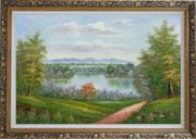Trail of Serenity Oil Painting Landscape River Classic Ornate Antique Dark Gold Wood Frame 30 x 42 inches