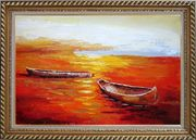 Beachside Boats in Sunset Oil Painting Impressionism Exquisite Gold Wood Frame 30 x 42 inches