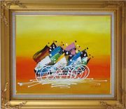 Cycling Race Oil Painting Portraits Modern Gold Wood Frame with Deco Corners 27 x 31 inches