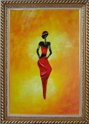 Lady in Red II Oil Painting Portraits Woman Dancer Modern Exquisite Gold Wood Frame 42 x 30 inches