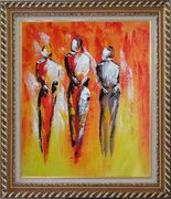 Modern Painting of Working Men Oil Portraits Exquisite Gold Wood Frame 30 x 26 inches