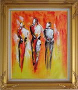 Modern Painting of Working Men Oil Portraits Gold Wood Frame with Deco Corners 31 x 27 inches