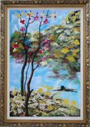 Spring Pink Flower Tree Oil Painting Landscape Impressionism Ornate Antique Dark Gold Wood Frame 42 x 30 inches