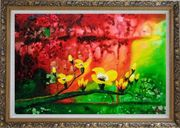 Yellow Magnolia Denudata Blossoms in Red and Green Background Oil Painting Flower Modern Ornate Antique Dark Gold Wood Frame 30 x 42 inches