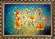 Yellow Flower Field Oil Painting Naturalism Exquisite Gold Wood Frame 30 x 42 inches