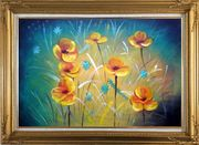 Yellow Flower Field Oil Painting Naturalism Gold Wood Frame with Deco Corners 31 x 43 inches