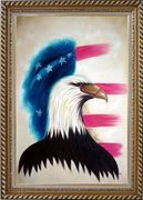 Eagle Head and American Flag Oil Painting Animal Modern Exquisite Gold Wood Frame 42 x 30 inches
