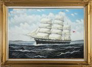 Vintage Sailing Ship Oil Painting Boat Classic Gold Wood Frame with Deco Corners 31 x 43 inches