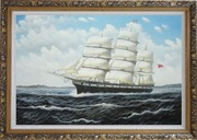 Vintage Sailing Ship Oil Painting Boat Classic Ornate Antique Dark Gold Wood Frame 30 x 42 inches