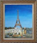 Eiffel Tower Scene Oil Painting Cityscape France Impressionism Exquisite Gold Wood Frame 30 x 26 inches