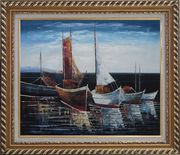 Sail Boats in Port Oil Painting Impressionism Exquisite Gold Wood Frame 26 x 30 inches