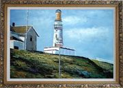 Light House Oil Painting Village Naturalism Ornate Antique Dark Gold Wood Frame 30 x 42 inches