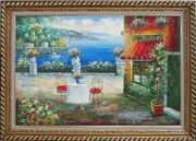 Beach Sidewalk Restaurant Oil Painting Mediterranean Naturalism Exquisite Gold Wood Frame 30 x 42 inches