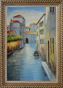 Small Boat in Venice Water Canal Oil Painting Italy Naturalism Exquisite Gold Wood Frame 42 x 30 inches