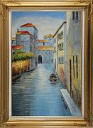 Small Boat in Venice Water Canal Oil Painting Italy Naturalism Gold Wood Frame with Deco Corners 43 x 31 inches
