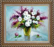 Purple and White Mum and Purple Stock Flowers in Vase Oil Painting Still Life Bouquet Impressionism Exquisite Gold Wood Frame 26 x 30 inches