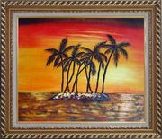 Palm Trees Silhouettes on Red and Orange Sky Sunset Oil Painting Seascape America Naturalism Exquisite Gold Wood Frame 26 x 30 inches