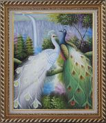 Pair of White and Green Peafowl with Waterfall and Trees Oil Painting Animal Peacock Naturalism Exquisite Gold Wood Frame 30 x 26 inches