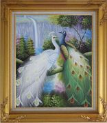 Pair of White and Green Peafowl with Waterfall and Trees Oil Painting Animal Peacock Naturalism Gold Wood Frame with Deco Corners 31 x 27 inches