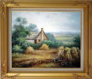 Pleasant Time Oil Painting Village Classic Gold Wood Frame with Deco Corners 27 x 31 inches