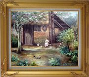 Quiet Summer Time Oil Painting Village Classic Gold Wood Frame with Deco Corners 27 x 31 inches