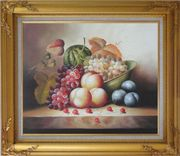 Plate with Grapes, Peaches, Purple Plums, Cherries and Green Pumpkin Oil Painting Still Life Fruit Classic Gold Wood Frame with Deco Corners 27 x 31 inches