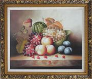 Plate with Grapes, Peaches, Purple Plums, Cherries and Green Pumpkin Oil Painting Still Life Fruit Classic Ornate Antique Dark Gold Wood Frame 26 x 30 inches