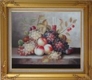 Grapes, Peaches, Cherries, Tomato With Glass of Red Juice Oil Painting Still Life Fruit Classic Gold Wood Frame with Deco Corners 27 x 31 inches