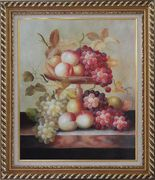 Grapes, Peaches and Oranges with Compote Plate Oil Painting Still Life Fruit Classic Exquisite Gold Wood Frame 30 x 26 inches
