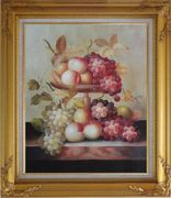 Grapes, Peaches and Oranges with Compote Plate Oil Painting Still Life Fruit Classic Gold Wood Frame with Deco Corners 31 x 27 inches