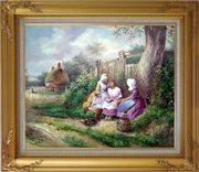 Reading Under the Tree Oil Painting Portraits Woman Classic Gold Wood Frame with Deco Corners 27 x 31 inches