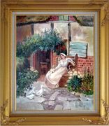 Sitting Rural Girl Portrait Oil Painting Portraits Woman Classic Gold Wood Frame with Deco Corners 31 x 27 inches