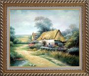 Cottage In Cornfield Oil Painting Village Classic Exquisite Gold Wood Frame 26 x 30 inches