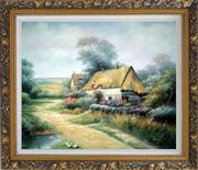 Cottage In Cornfield Oil Painting Village Classic Ornate Antique Dark Gold Wood Frame 26 x 30 inches