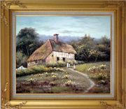 Small Old House Oil Painting Village Classic Gold Wood Frame with Deco Corners 27 x 31 inches