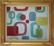 Colorful Rings and Dots in White Background Oil Painting Nonobjective Modern Gold Wood Frame with Deco Corners 27 x 31 inches