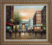 Pedestrian Walk Through Arch of Victory Oil Painting Cityscape France Impressionism Exquisite Gold Wood Frame 26 x 30 inches