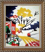 Winter Christmas Modern Pop Art Oil Painting Village Exquisite Gold Wood Frame 30 x 26 inches