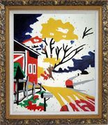 Winter Christmas Modern Pop Art Oil Painting Village Ornate Antique Dark Gold Wood Frame 30 x 26 inches
